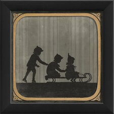 Children Sledding Framed Graphic Art