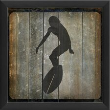Surfer III Framed Graphic Art in Black and Gray