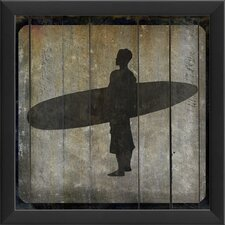 Surfer VI Framed Graphic Art in Black and Gray