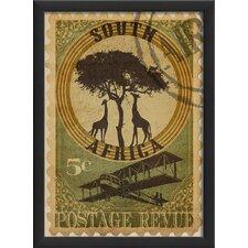 South Africa Postage Stamp Framed Vintage Advertisement