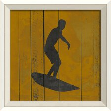 Surfer V Framed Graphic Art in Yellow and Black