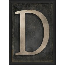 Letter D Framed Textual Art in Black and Gray