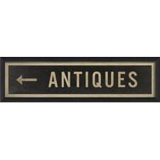 Sign Antiques Left Framed Textual Art
