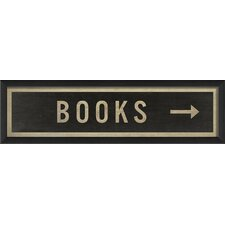 Sign Books Right Framed Textual Art