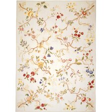 Classic Needlepoint Branches Cream Flowers Rug