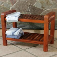 <strong>Decoteak</strong> Teak Grate Outdoor Bench Storage Shelf End Table or Serving Caddy