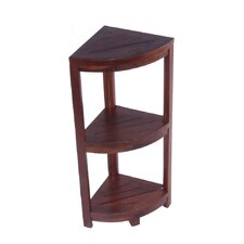 3 Tier Classic Spa Teak Corner Outdoor Shelf