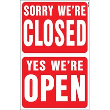 "15"" x 19"" Plastic Reversible Open Closed Sign (Set of 5)"