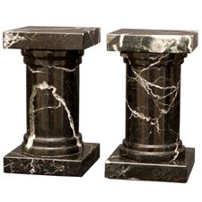 <strong>Designs by Marble Crafters</strong> Black and Zebra Marble Platanus Book Ends (Set of 2)