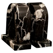 <strong>Designs by Marble Crafters</strong> Black Zebra Marble Metis Book Ends (Set of 2)