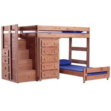 Twin Over Twin L-Shaped Bunk Bed with 5 Drawer Chest and Staircase