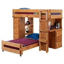 Twin Over Twin Student L-Shaped Bunk Bed with Desk and Chest End