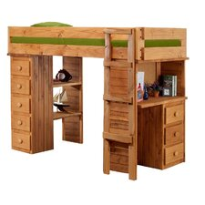 <strong>Chelsea Home</strong> Twin Loft Bed with Desk and Chest End