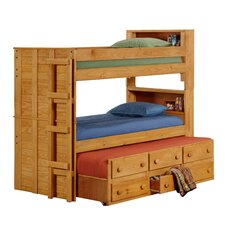 Twin Over Twin Standard Bunk Bed with Trundle Unit and Bookcase
