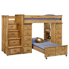 Twin Over Twin L-Shaped Bunk Bed with Staircase