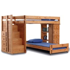 Twin Over Twin L-Shaped Bunk Bed with 5 Drawer Lingerie Chest and Staircase