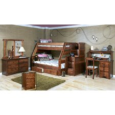 Twin Over Full Standard Bunk Bed with Stairway Chest and Storage
