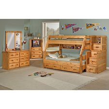 <strong>Chelsea Home</strong> Twin Over Full Standard Bunk Bed with Trundle Unit and Staircase