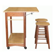 Sunny Kitchen Cart Set with Wood Top