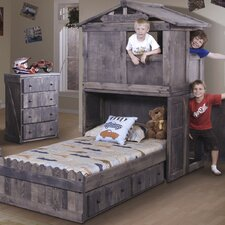 Twin Platform Bed with Club House and Storage