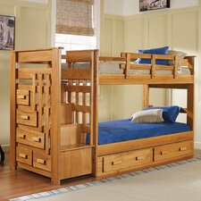 <strong>Chelsea Home</strong> Twin over Twin Standard Bunk Bed with Stairway and Underbed Storage