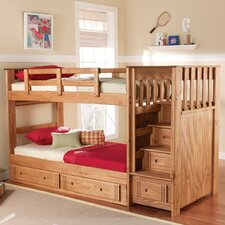 Twin over Twin Standard Bunk Bed with Stairway and Underbed Storage