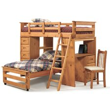 Twin over Twin L-Shaped Bunk Bed with Chest and Desk End