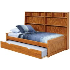Twin Captain Bed with Wall Bookcase and Trundle