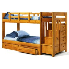 <strong>Chelsea Home</strong> Twin over Twin Standard Bunk Bed with Reversible Staircase and Underbed Storage