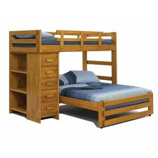 Twin over Full L-Shaped Bunk Bed with Chest and Bookcase