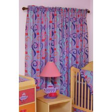 Little Girl Tea Set Cotton Rod Pocket Curtain Panel (Set of 2)