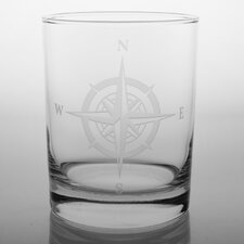 Compass Rose 14 Oz DOF Glass (Set of 4)
