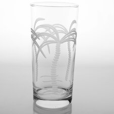 Palm Tree 15 Oz Cooler Glass (Set of 4)