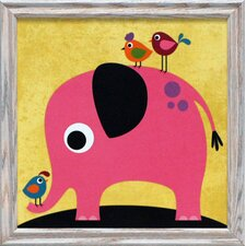 Elephant with Birds Framed Art