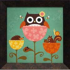 Owl, Squirrel and Hedgehog in Flowers Framed Art