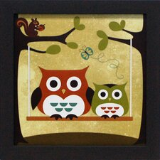 <strong>Artistic Reflections</strong> Two Owls on Swing Framed Art