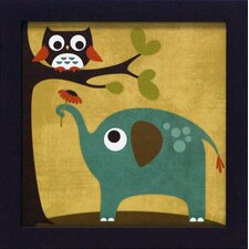 Owl and Elephant Framed Graphic Art