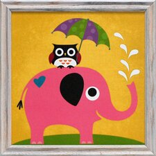 Elephant and Owl with Umbrella Framed Art