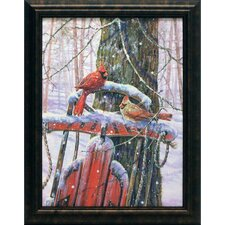 Red Sled Cardinals Framed Painting Print