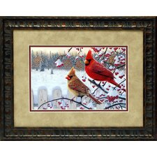 Winter Cardinals Framed Painting Print