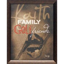 Faith Family Golf Framed Graphic Art