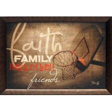 Faith Family Basketball Framed Graphic Art