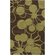 <strong>Jef Designs</strong> Bubble Brown/Green Rug