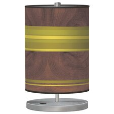 "Organic Modern Horizontal Stripes Cylinder 21"" H Table Lamp with Drum Shade"