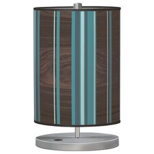 "Organic Modern Stripey Vertical  Cylinder 21"" H Table Lamp with Drum Shade"