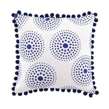 Antonia Linen Embroidered Pillow with Pom Pom