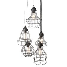 Wire Five Pendant Lamp in Silver