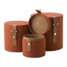 Nested Felt Round Box 3 Piece Set