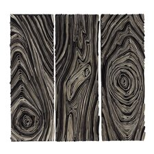 Abaca Wood Grain Wall Art (Set of 3)