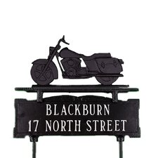 Two Line Lawn Sign with Motorcycle